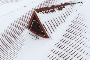 snow on roof in winter
